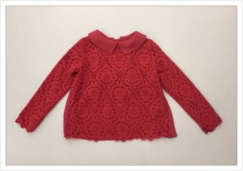 Twin-Set Bluse aus Spitze in beerenrot